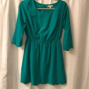 Green Dress with Scalloped Cutout